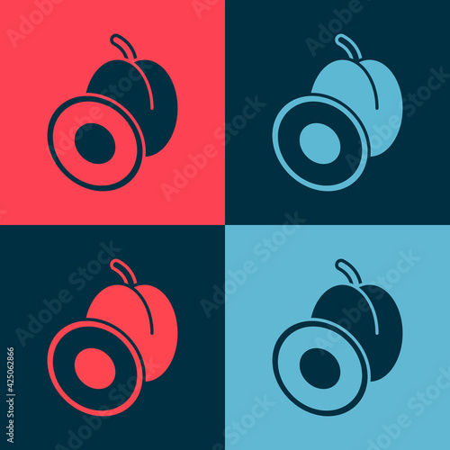 Pop art Plum fruit icon isolated on color background. Vector