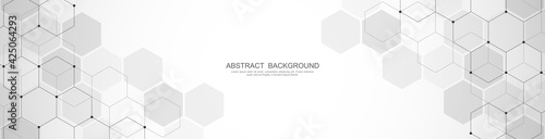Fototapeta Banner design template. Abstract background with geometric shapes and hexagon pattern. Vector illustration for medicine, technology or science design obraz