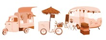 Unusual Food Trucks Illustration Set. Rose Gold Car Flower Shop, Wine Bicycle, Restaurant In Trailer, Florist Stand, Straw Umbrella. Concept Of Selling Outdoor. Small Vintage Cute Car. Cafe Terrace