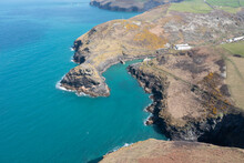 Aerial Photograph Of Boscastle, Cornwall, England.