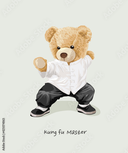 Fotografie, Obraz cute bear doll in kung fu costume vector illustration