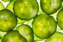 Backlit Cucumber Slices Macro Shot