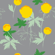Seamless Texture. Bright Yellow Bikini Flowers. A Great Occasion To Decorate Your Favorite Girly Things: Dresses, Scarves, Bags.