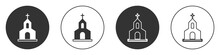 Black Church Building Icon Isolated On White Background. Christian Church. Religion Of Church. Circle Button. Vector