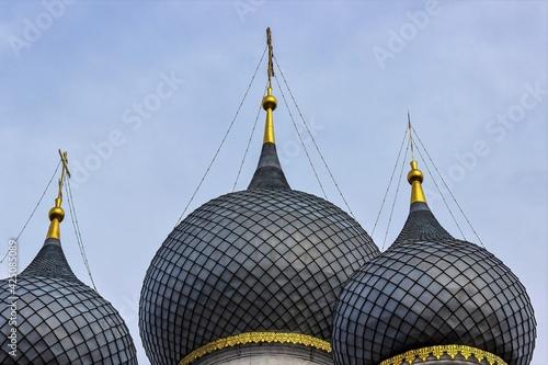 Fotografie, Obraz Russia, Rostov, July 2020. Three domes of the church close-up.