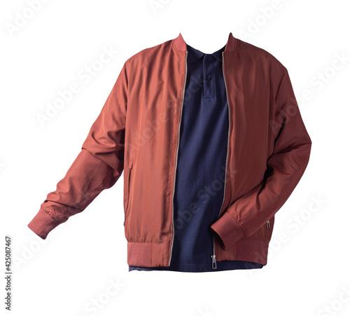 Fotografia men's bomber jacket and  shirt isolated on white background