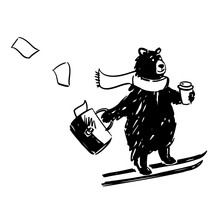 Bear On Skis With Coffee And A Briefcase.