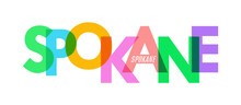 SPOKANE. The Name Of The City On A White Background. Vector Design Template For Poster, Postcard, Banner
