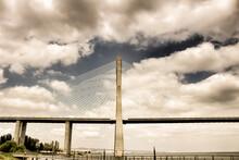 Vasco Da Gama Bridge Perspectives Under Cloudy Sky In Lisbon