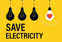 Three Black Lamp Bulbs And One Shine Light Bulb On Yellow Background. Save Electricity, Motivational Banner. Bulb With Red Heart.