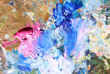 Abstract Colorful Oil Painting Strokes. Blue And Pink Brushstroke Background. Mixed Oil Paint Teture