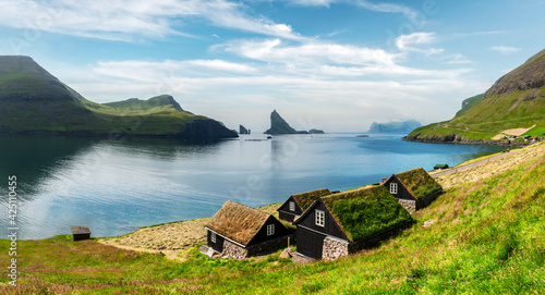 Fotografie, Obraz Picturesque view of tradicional faroese grass-covered houses