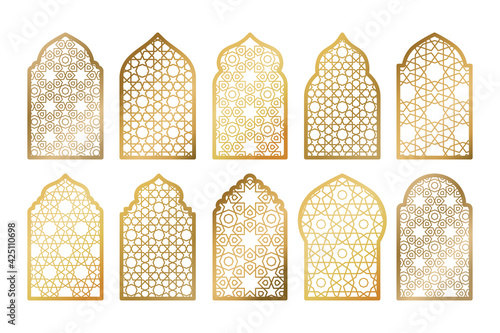 Fotografie, Tablou Set of gold ornate arab windows isolated on white