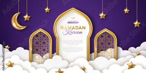 Ramadan Kareem concept banner, gold 3d frame arab window on night sky background, beautiful arabesque pattern. Vector illustration. Hanging golden crescent and stars, paper cut clouds. Place for text
