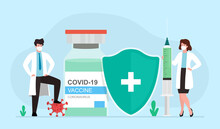 Coronavirus Vaccination. Medical Doctors Characters With  Huge Syringes To Inject And Vaccine Bottle Covid-19. Vector Illustration .