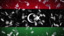 Libya Flag Falling Snow Loopable New Year And Christmas Background Loop