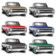 60s' Classic Pickup Truck Vector Illustrations Set Of 6 Different Colors