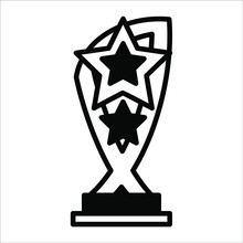 Three Star Shield ,trophy Black Filled Line Vector Icon Isolated