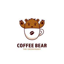 Coffee Bear Logo, A Cute Grizzly Brown Bear Mascot Inside Coffee Cup Icon Logo Illustration Cartoon Style