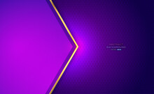 Purple Paper Cut With Gold Arrow Bar On Hexagon Mesh And Light Abstract Background. Design Modern Luxury Futuristic. Vector Illustration