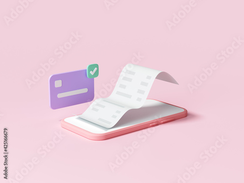 Easy contactless payment via smartphone concept. online mobile shopping and payment transaction. 3d render illustration