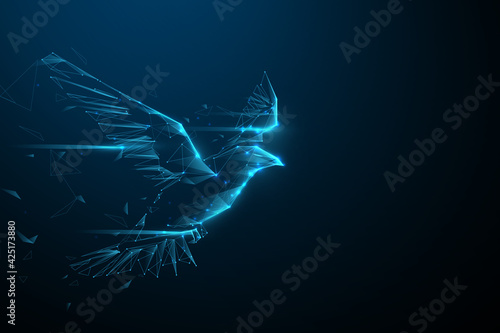 Eagle flying swoop from lines, triangles, and particle style design Fototapet