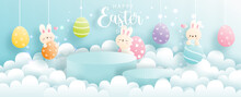 Happy Easter Day With Cute Rabbit And Round Podium. Product Display