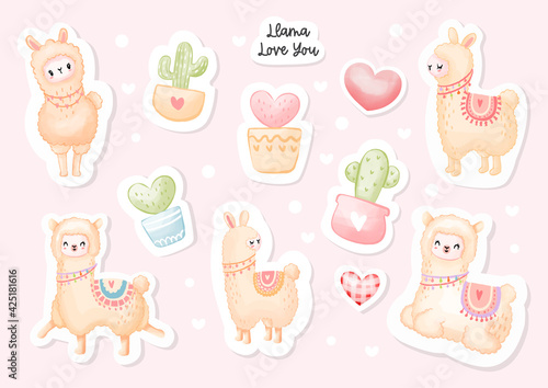 Fototapeta premium Llama love you sticker, Cute lama and cactus pot. Watercolor Vector illustration