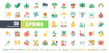 64x64 Pixel Perfect. Spring Season. Flat Color Icons Vector. For Website, Application, Printing, Document, Poster Design, Etc.