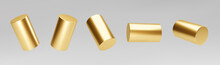 Gold 3d Rotating Cylinder Set Isolated On Grey Background. Cylinder Pillar, Golden Pipe. 3d Basic Geometric Shapes Vector