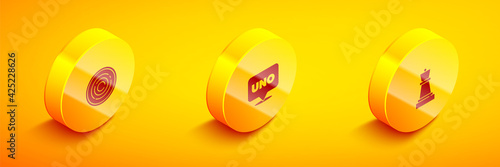 Set Isometric Checker game chips, Uno card and Chess icon. Vector фототапет