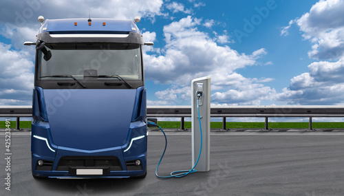 Obraz Electric truck with charging station. Concept - fototapety do salonu