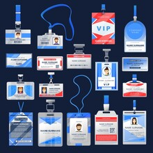ID Card Or Badge Vector Mockups Of Employee Identification Name Tags. Access Cards With Photo In Clear Plastic Holders With Blue Lanyards, Clips And Clasps, Office, Presentation Or Conference Pass Id