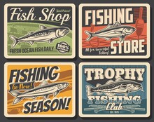 Fishing Sport Club Retro Posters With Vector Ocean Fish, Fishing Rod, Boat And Fisherman Tackle. Salmon, Bass, Catfish And Anchovy, Spinning Rods, Hooks, Ship And Float With Water Waves