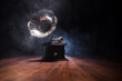 Old gramophone on a dark background. Music concept