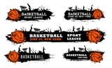 Basketball team match, sport league game grungy banner with ball, silhouette of players doing slam dunk in hoop and paint, ink splatters, smudges vector. Basketball tournament cup, competition poster