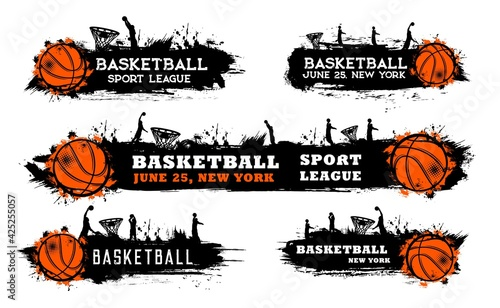 Fototapeta premium Basketball team match, sport league game grungy banner with ball, silhouette of players doing slam dunk in hoop and paint, ink splatters, smudges vector. Basketball tournament cup, competition poster