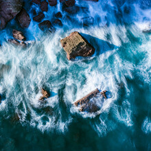 Blur Of Sea Waves Colors Breaking In The Coast Of Lekeitio, Basque Country
