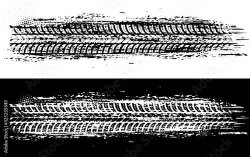 Canvastavla Offroad tyre print and grunge spot, vector monochrome tire trace