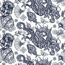 Japanese Seamless Pattern. Dragons And Geisha Cat. Flying Snakes, Pink Fan And Sakura Flowers. Asian Travel Background. Funny Oriental Art. Ancient China History And Culture