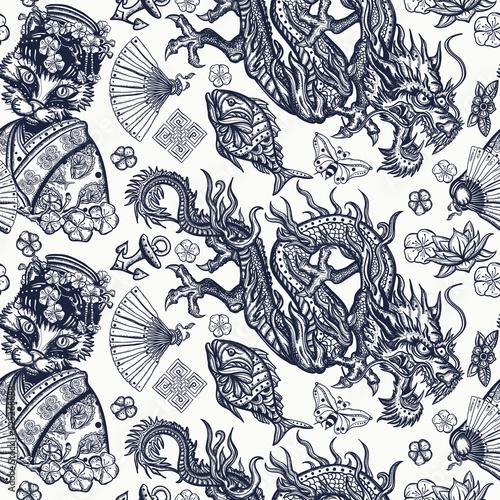 Obraz na plátne Japanese seamless pattern