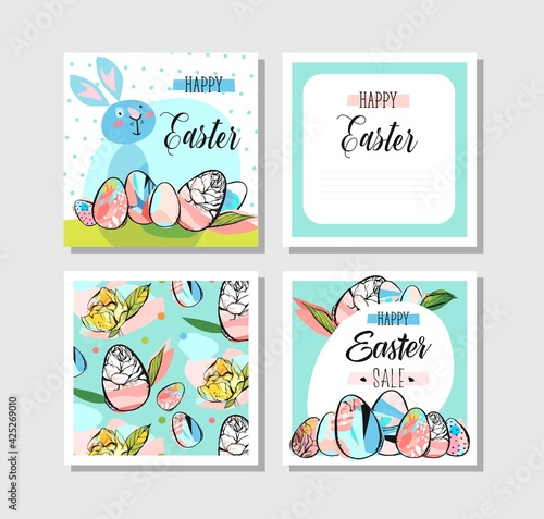 Hand drawn vector abstract creative Happy Easter greeting cards design collection set template with flowers,Easter eggs in pastel and blue mint colors isolated on white background.Sign,Sale
