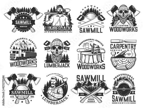 Lumberjack, sawmill lumbering service and logging wood vector icons. Lumber and forestry industry, logger woodwork bearded skull in hat. Woodcutter axe, saw and logging machine, tree logs and stumps