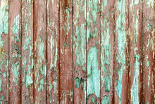 Old Wood Planks With Peeling Red Paint