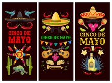 Cinco De Mayo Mexican Holiday Banners Of Vector Fiesta Party Sombrero Hats, Cactuses And Chilli Peppers. Mariachi Musician Maracas, Guitars, Mustache And Trumpet, Tequila, Pinata, Jalapeno And Agave