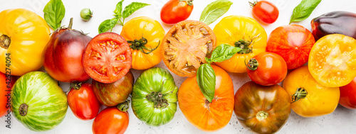 Mixed tomatoes top view Fototapet