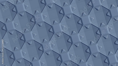 Technological plane from volumetric squares and triangles. Abstract texture or wallpaper for a desktop background for a pc or smartphone. Pattern or decor. 3d rendering image.
