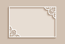 Rectangle Frame With Lace Corner Decoration, Stencil Template For Laser Cutting, Vintage Wedding Invitation Card Design, Paper Cut Decor On Neural Beige Background