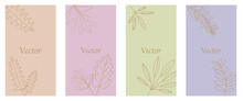 Vector Design Templates In Simple Modern Style With Copy Space For Text, Flowers And Leaves. リーフテンプレート、リーフフレームセット