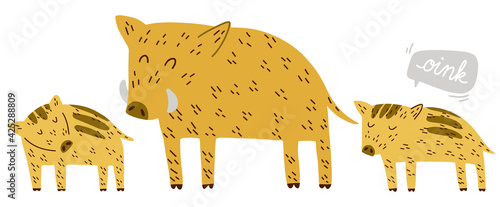 Foto Cute Boar family dad and piglets hand drawn vector illustration scandinavian doo